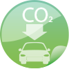Verminderter CO2 Ausstoß Icon